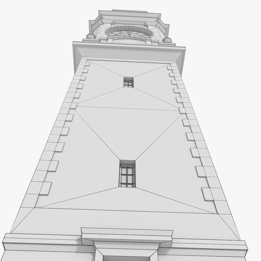 Clock tower one royalty-free 3d model - Preview no. 15