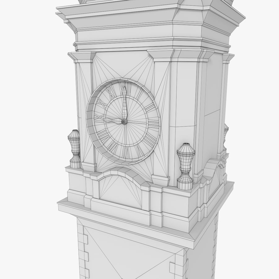 Clock tower one royalty-free 3d model - Preview no. 13