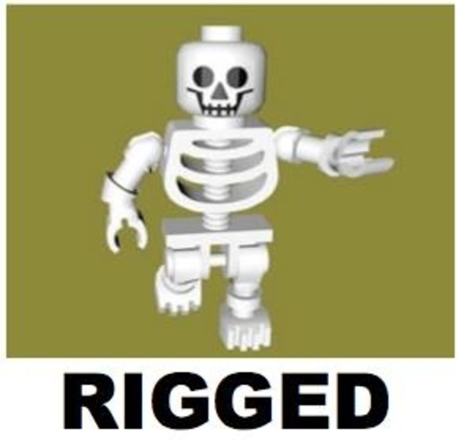LEGO Skeleton (Rigged) royalty-free 3d model - Preview no. 1