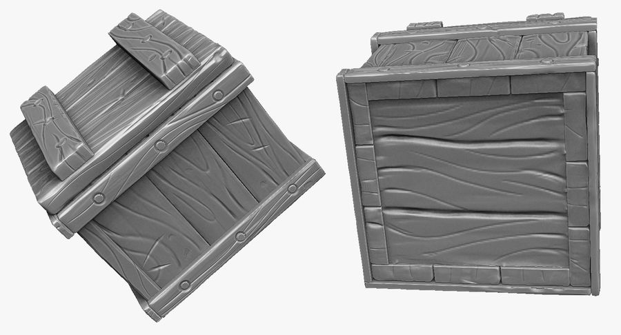 Stylized wooden box Sculpt royalty-free 3d model - Preview no. 4