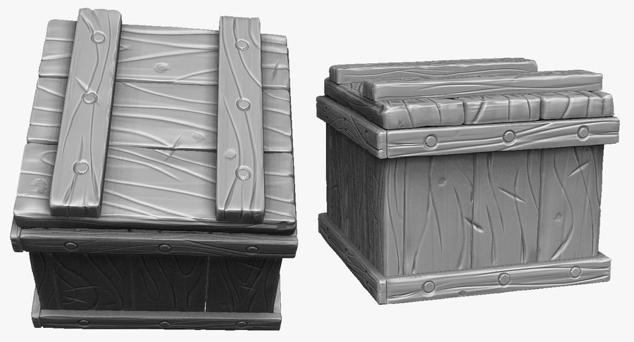 Stylized wooden box Sculpt royalty-free 3d model - Preview no. 1