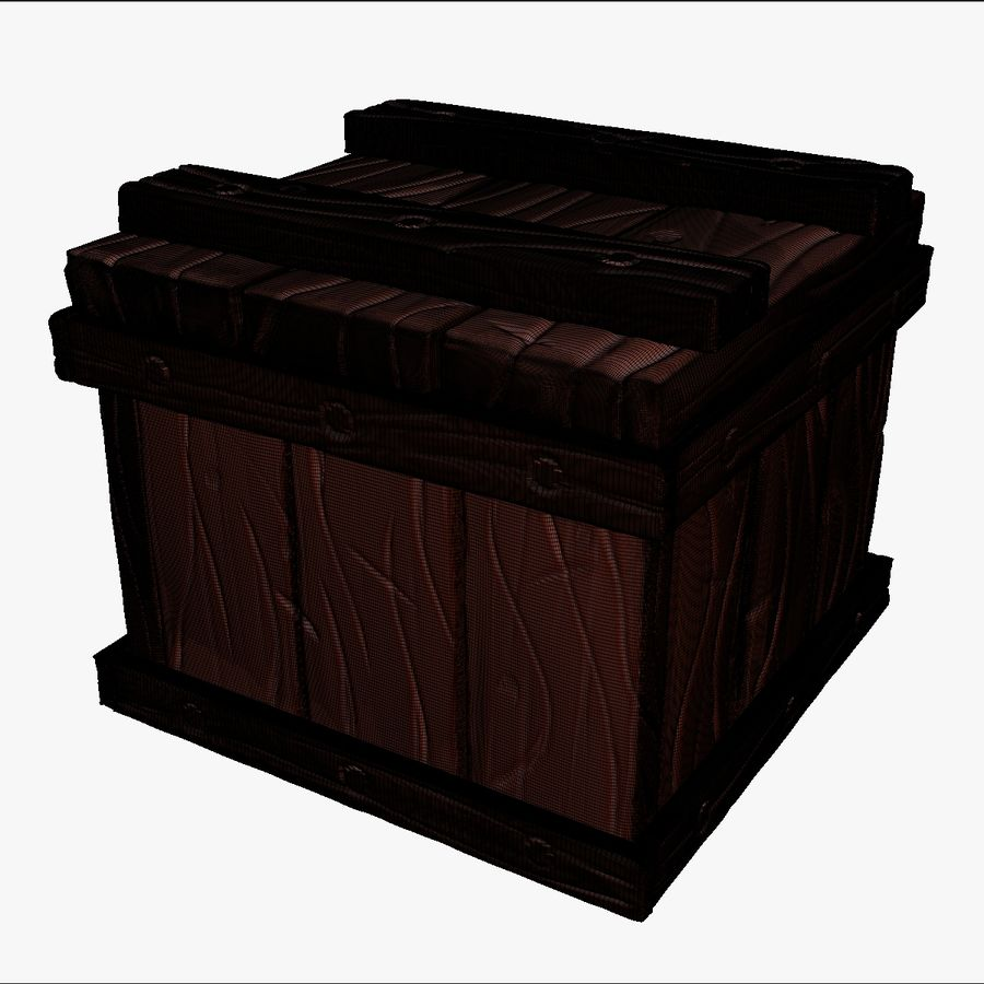 Stylized wooden box Sculpt royalty-free 3d model - Preview no. 13