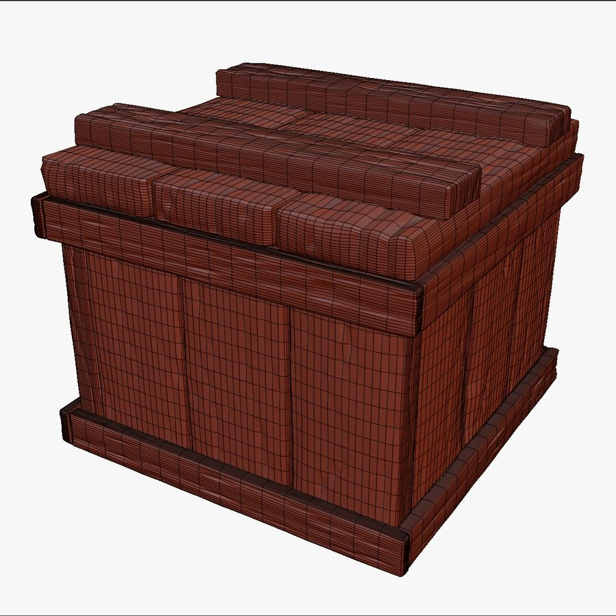 Stylized wooden box Sculpt royalty-free 3d model - Preview no. 10