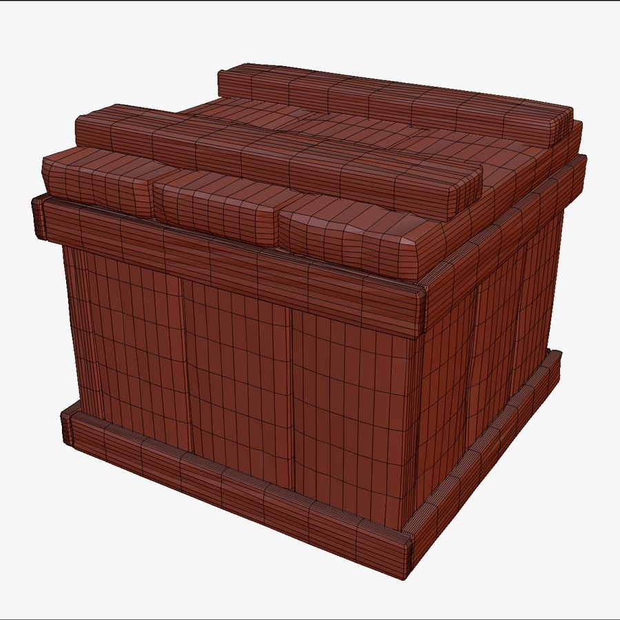 Stylized wooden box Sculpt royalty-free 3d model - Preview no. 9