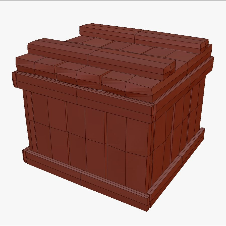 Stylized wooden box Sculpt royalty-free 3d model - Preview no. 7