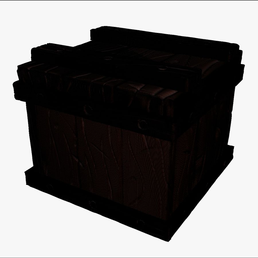 Stylized wooden box Sculpt royalty-free 3d model - Preview no. 14
