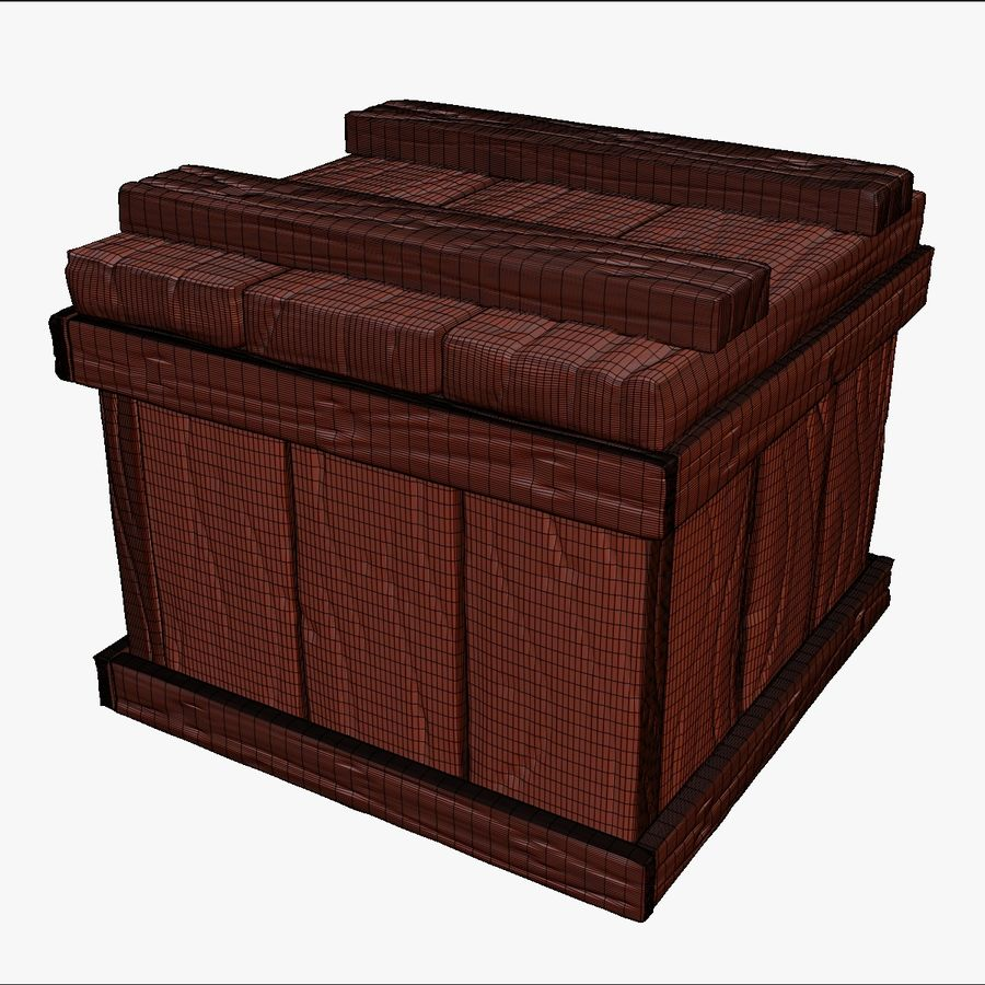 Stylized wooden box Sculpt royalty-free 3d model - Preview no. 11