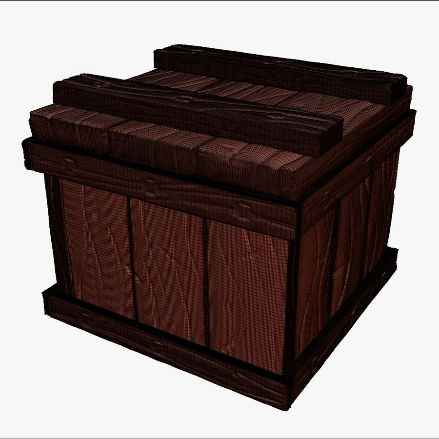 Stylized wooden box Sculpt royalty-free 3d model - Preview no. 12