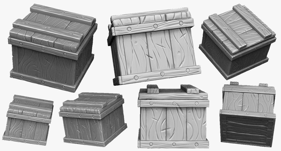 Stylized wooden box Sculpt royalty-free 3d model - Preview no. 2