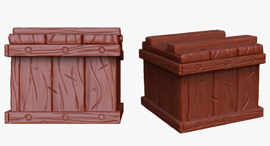 Stylized wooden box Sculpt royalty-free 3d model - Preview no. 3
