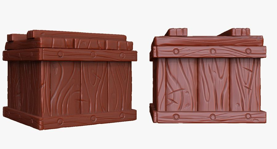Stylized wooden box Sculpt royalty-free 3d model - Preview no. 5