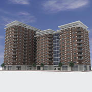Modern Shopping Apartment City Building - Commercial Brick Design 3d model