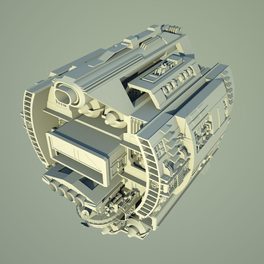 基地宇宙飞船 royalty-free 3d model - Preview no. 7