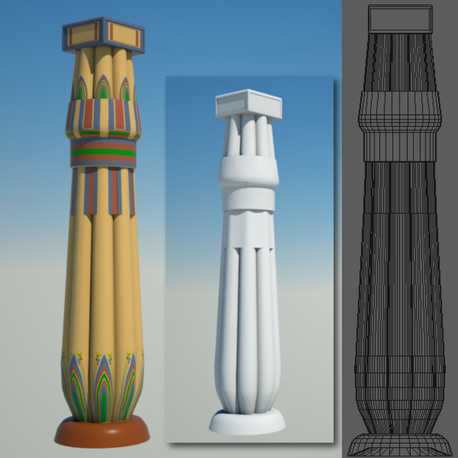 Egyptian architecture objects royalty-free 3d model - Preview no. 3