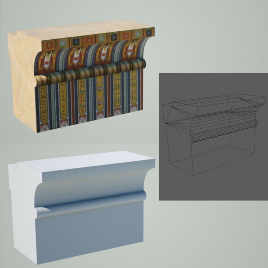 Egyptian architecture objects royalty-free 3d model - Preview no. 5