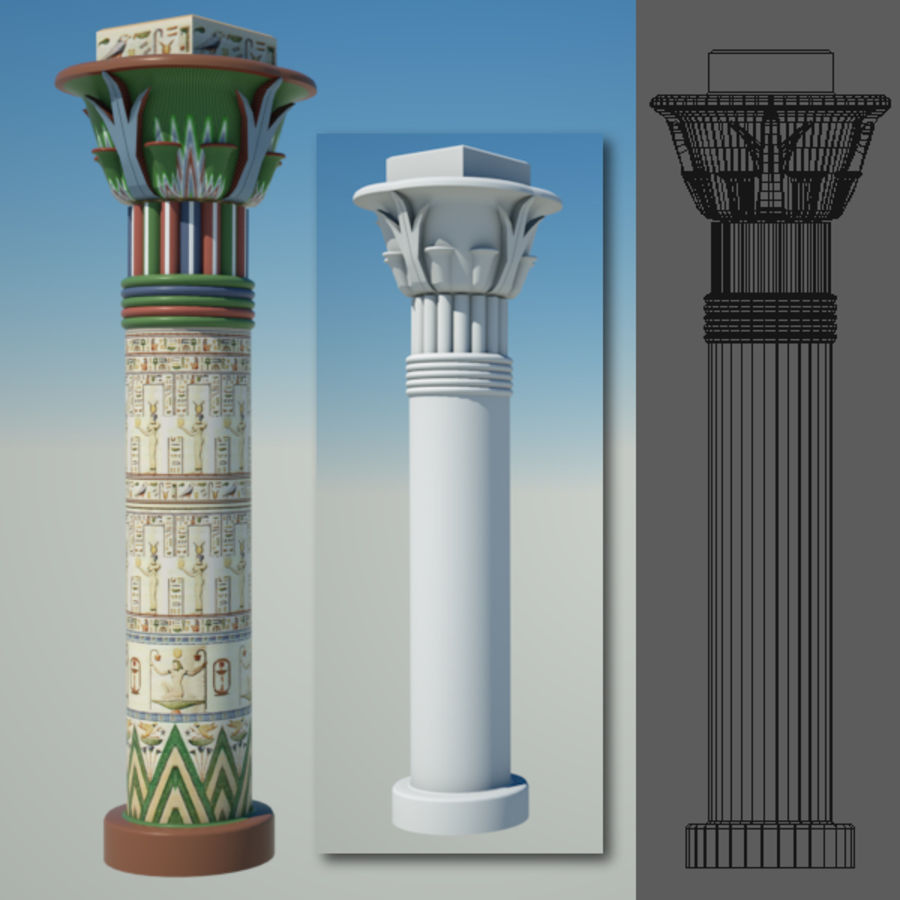 Egyptian architecture objects royalty-free 3d model - Preview no. 6