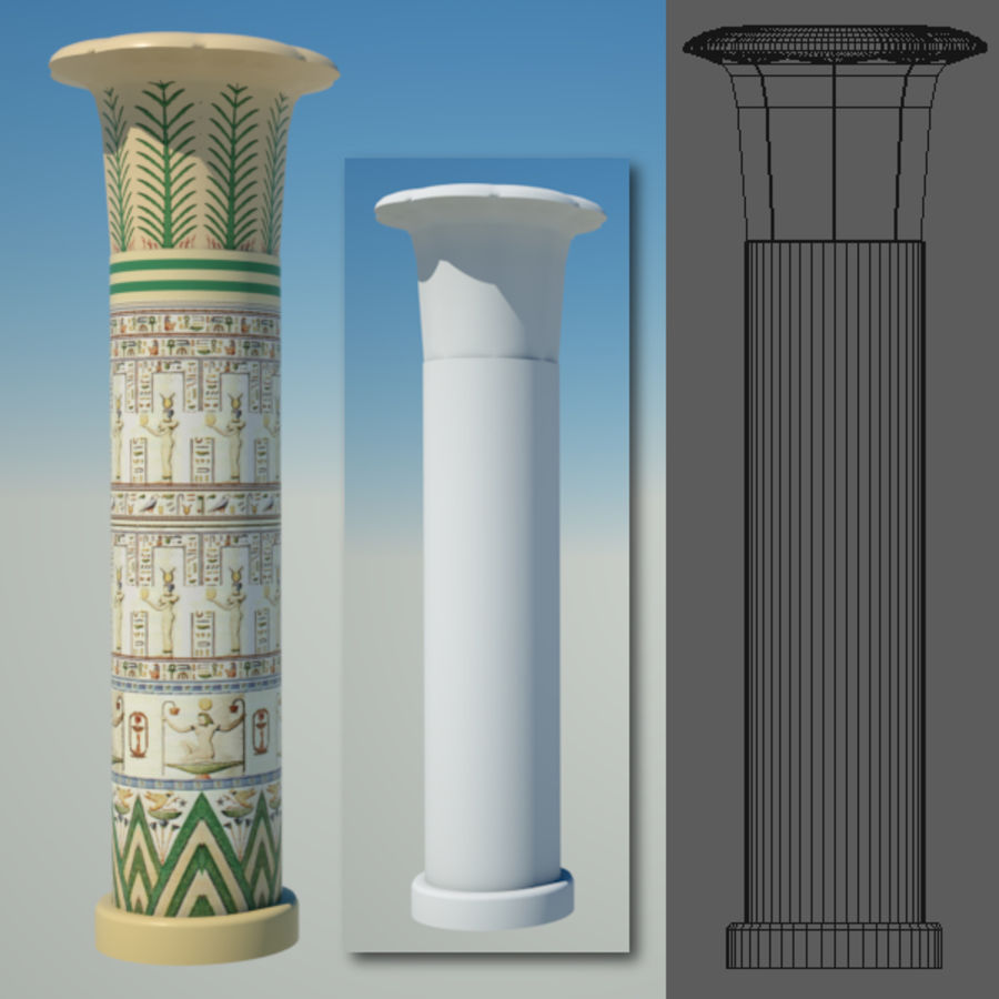 Egyptian architecture objects royalty-free 3d model - Preview no. 7