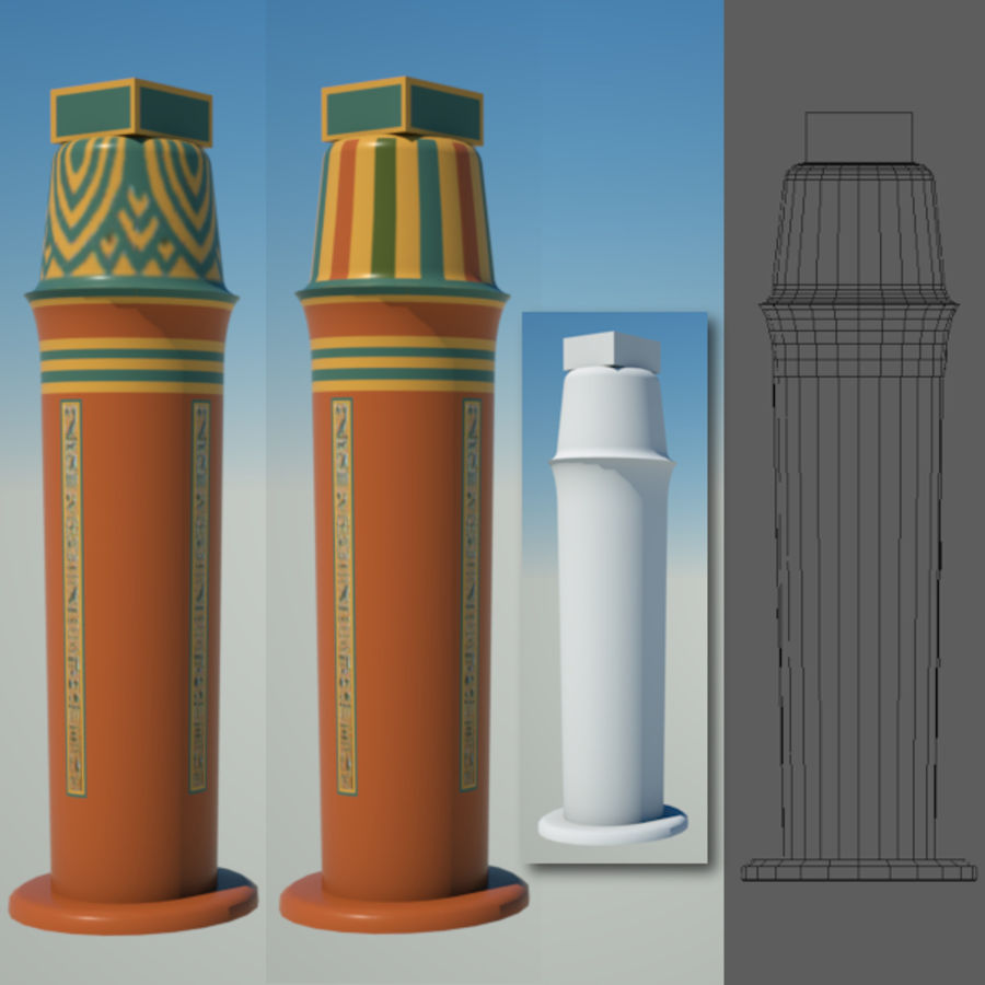 Egyptian architecture objects royalty-free 3d model - Preview no. 8