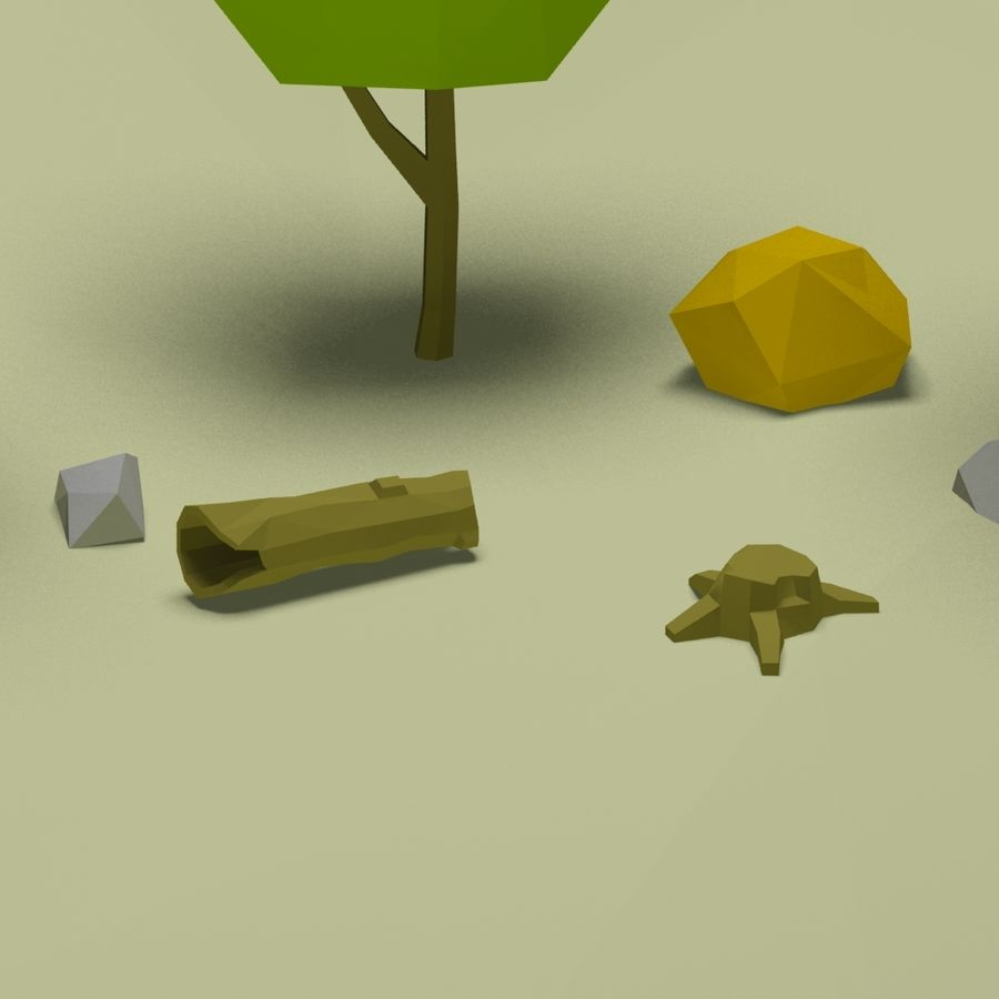Cartoon low poly trees pack royalty-free 3d model - Preview no. 8