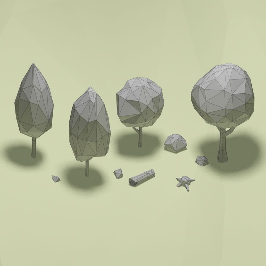 Cartoon low poly trees pack royalty-free 3d model - Preview no. 14