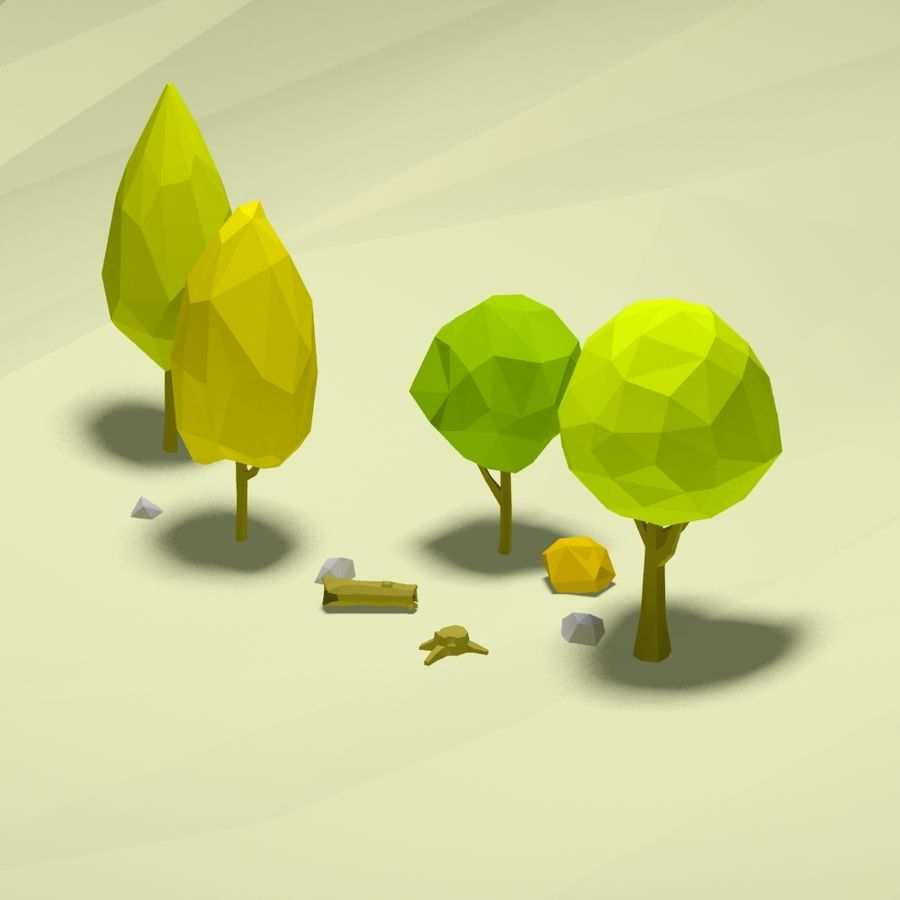 Cartoon low poly trees pack royalty-free 3d model - Preview no. 5