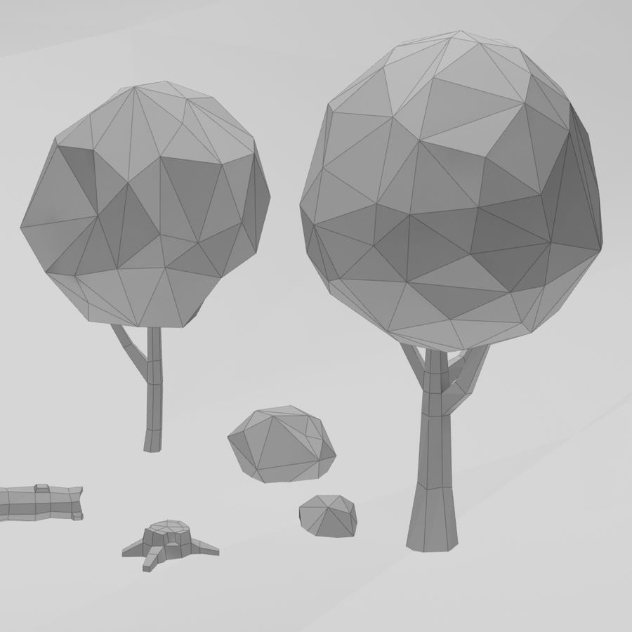 Cartoon low poly trees pack royalty-free 3d model - Preview no. 13