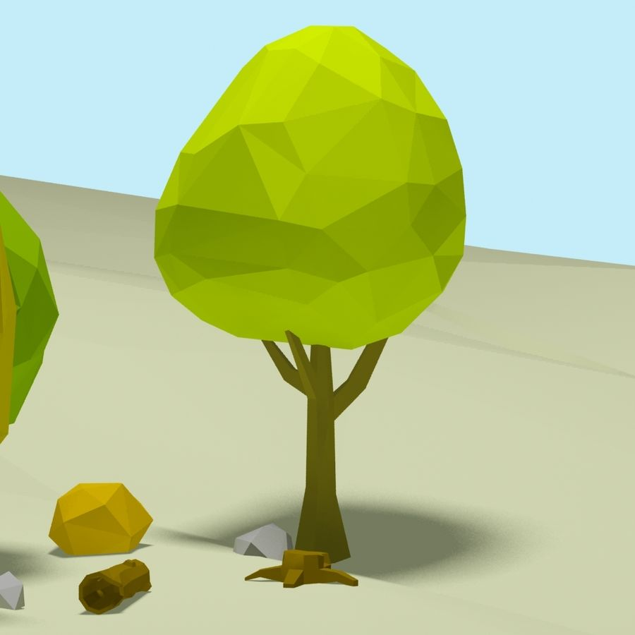 Cartoon low poly trees pack royalty-free 3d model - Preview no. 7