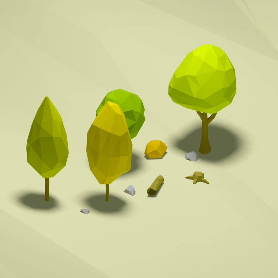 Cartoon low poly trees pack royalty-free 3d model - Preview no. 6