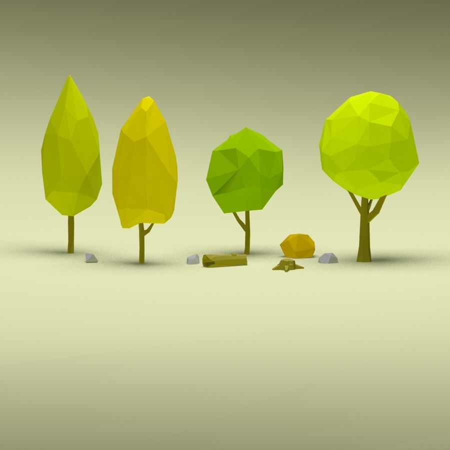 Cartoon low poly trees pack royalty-free 3d model - Preview no. 11