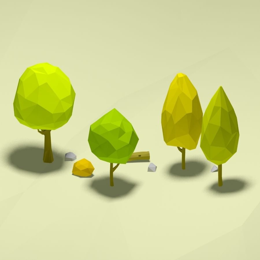 Cartoon low poly trees pack royalty-free 3d model - Preview no. 2
