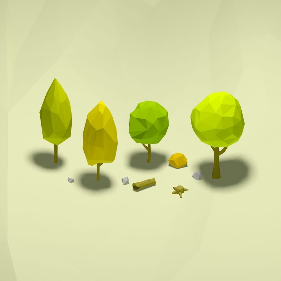 Cartoon low poly trees pack royalty-free 3d model - Preview no. 1