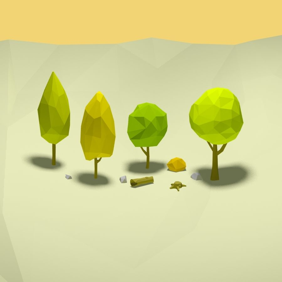 Cartoon low poly trees pack royalty-free 3d model - Preview no. 3