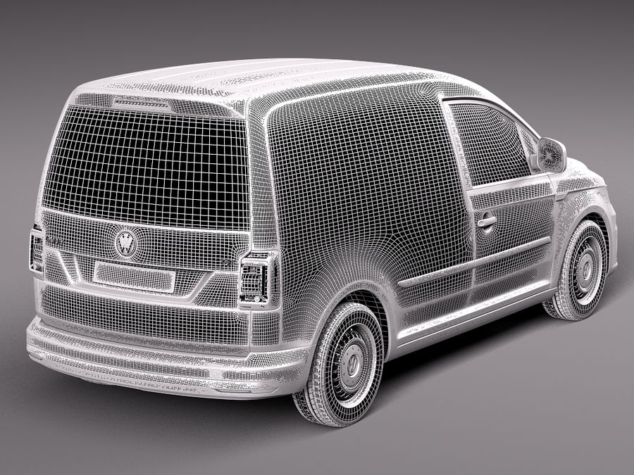 Volkswagen Caddy Cargo VAN 2016 royalty-free 3d model - Preview no. 9