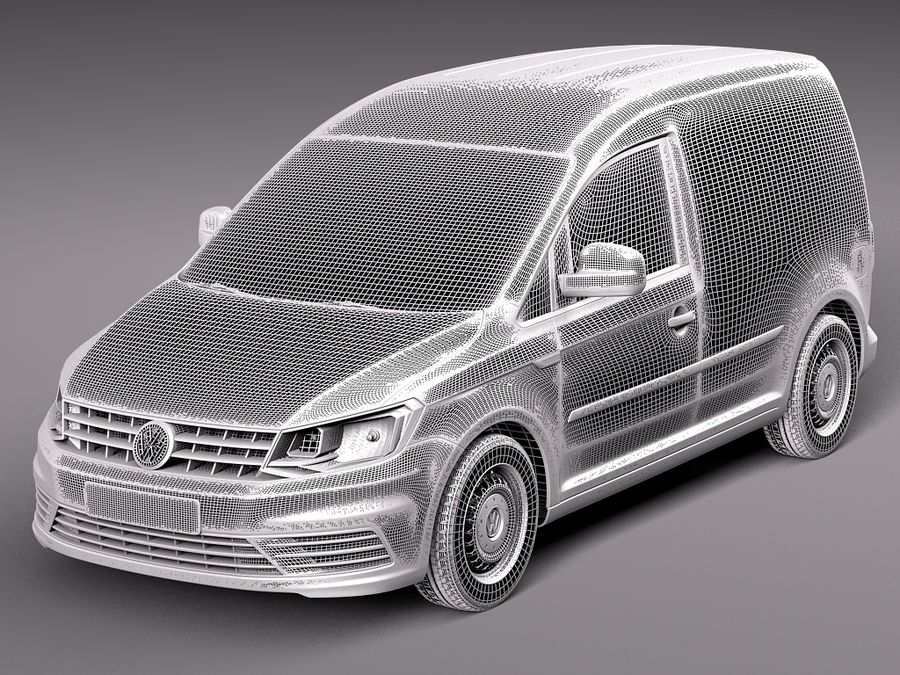 Volkswagen Caddy Cargo VAN 2016 royalty-free 3d model - Preview no. 10