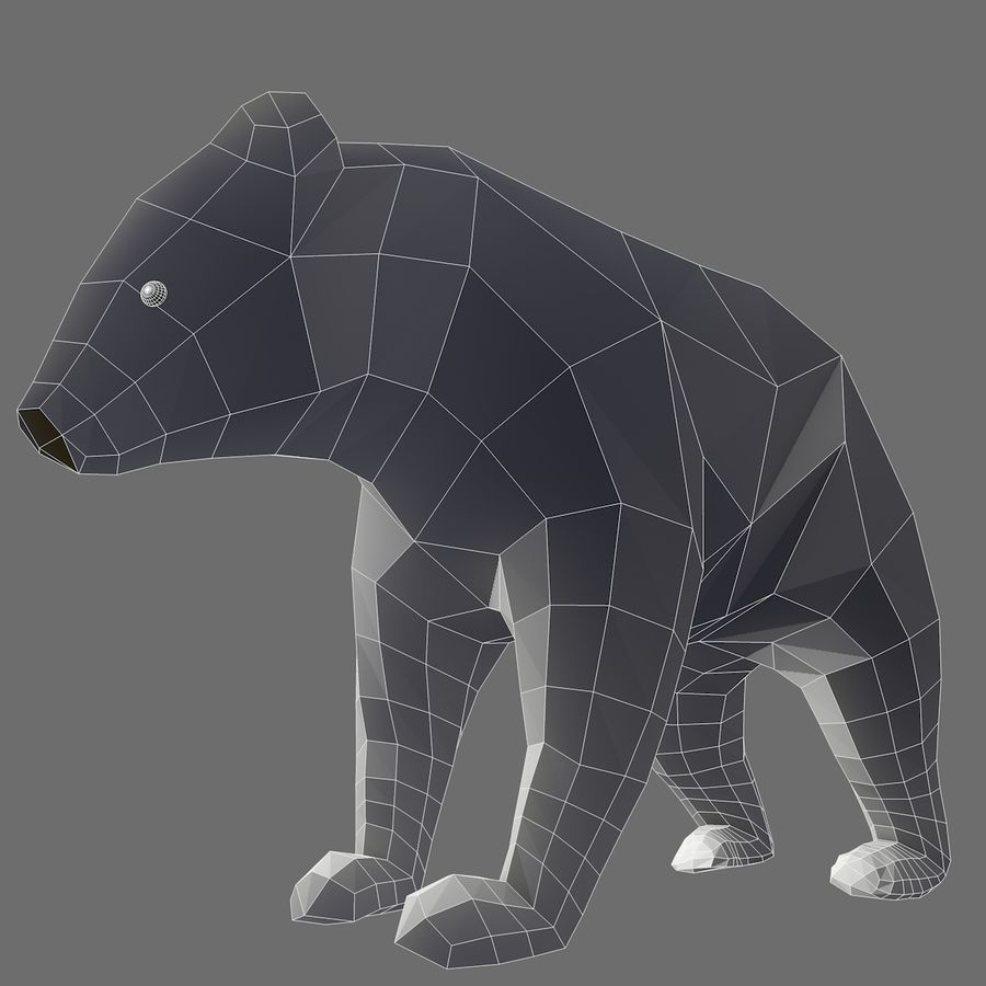 Bear Mishka Low Poly royalty-free 3d model - Preview no. 8