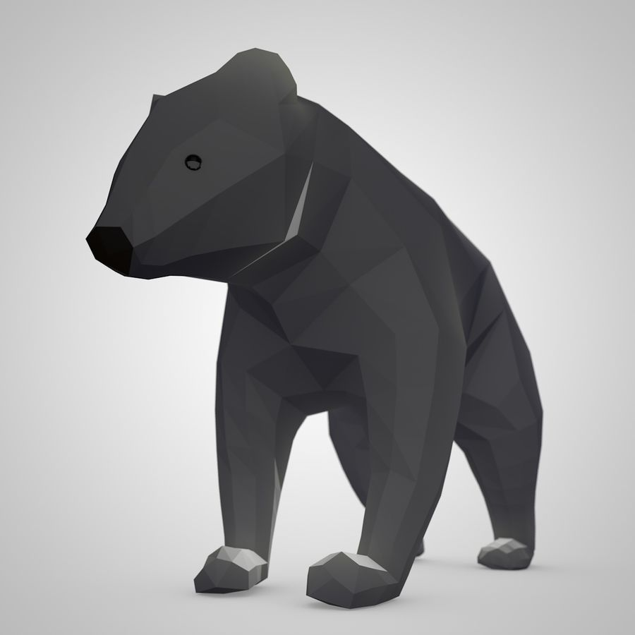 Bear Mishka Low Poly royalty-free 3d model - Preview no. 5