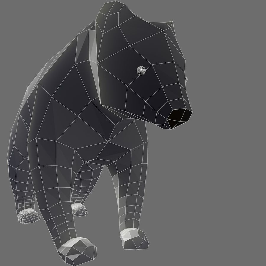 Bear Mishka Low Poly royalty-free 3d model - Preview no. 7