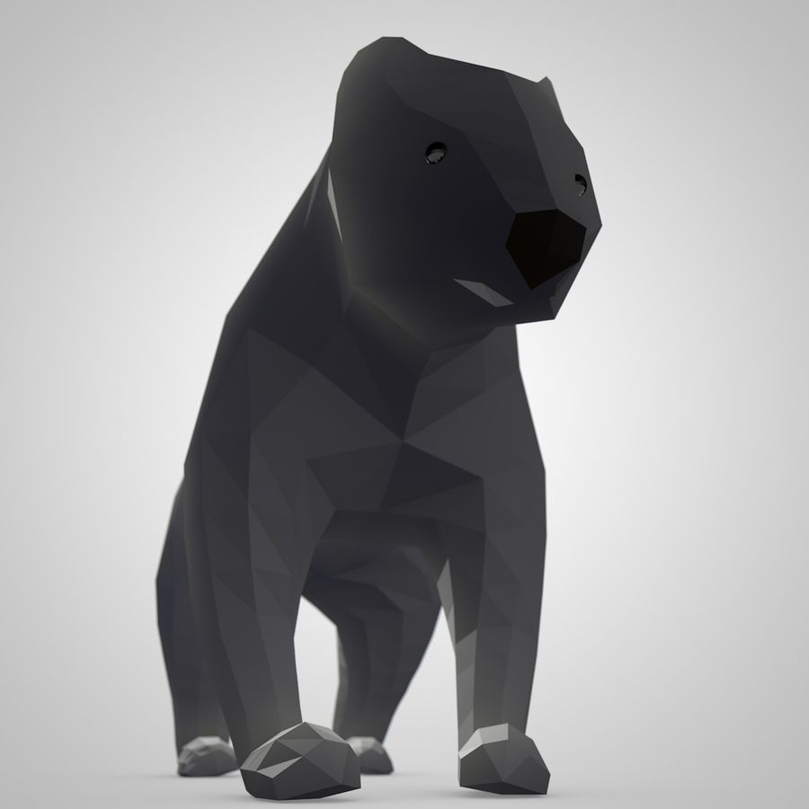 Bear Mishka Low Poly royalty-free 3d model - Preview no. 2