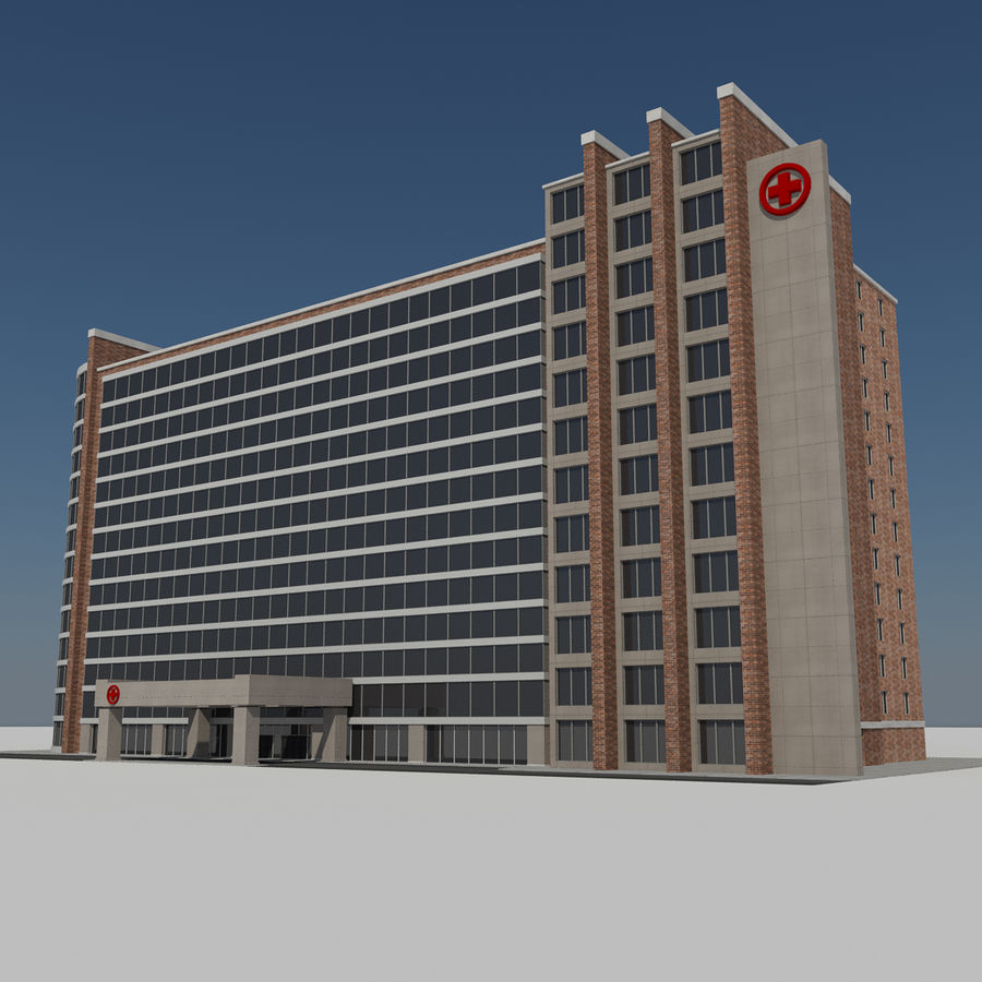 Hospital Business City Building AA2 royalty-free 3d model - Preview no. 2