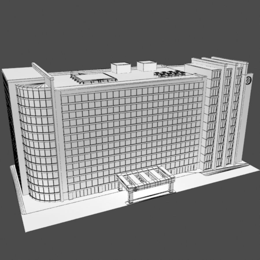 Hospital Business City Building AA2 royalty-free 3d model - Preview no. 9