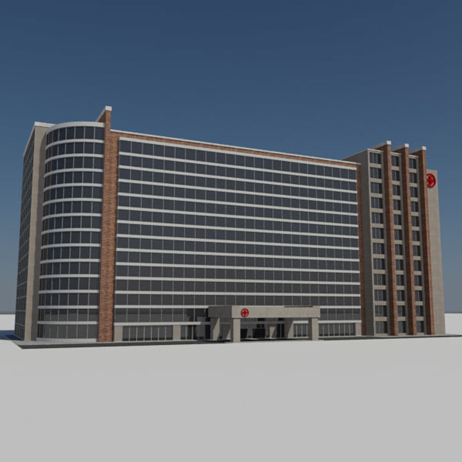 Hospital Business City Building AA2 royalty-free 3d model - Preview no. 3