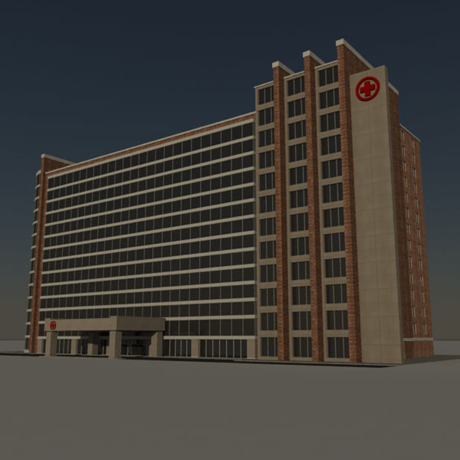 Hospital Business City Building AA2 royalty-free 3d model - Preview no. 7