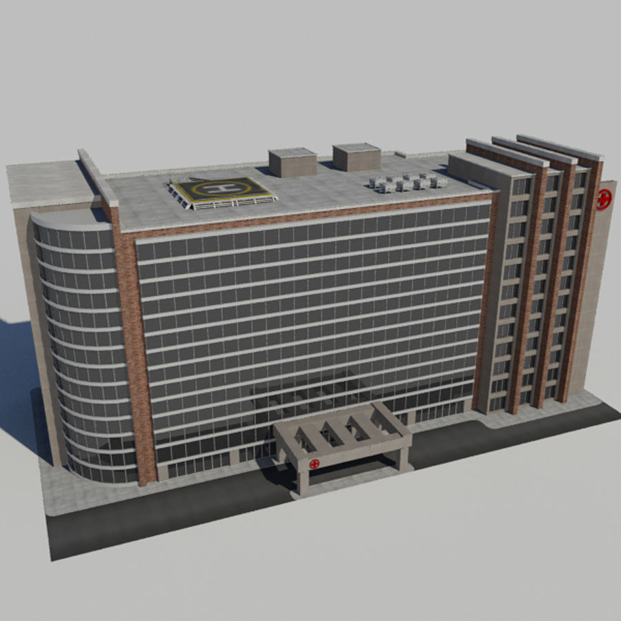 Hospital Business City Building AA2 royalty-free 3d model - Preview no. 1