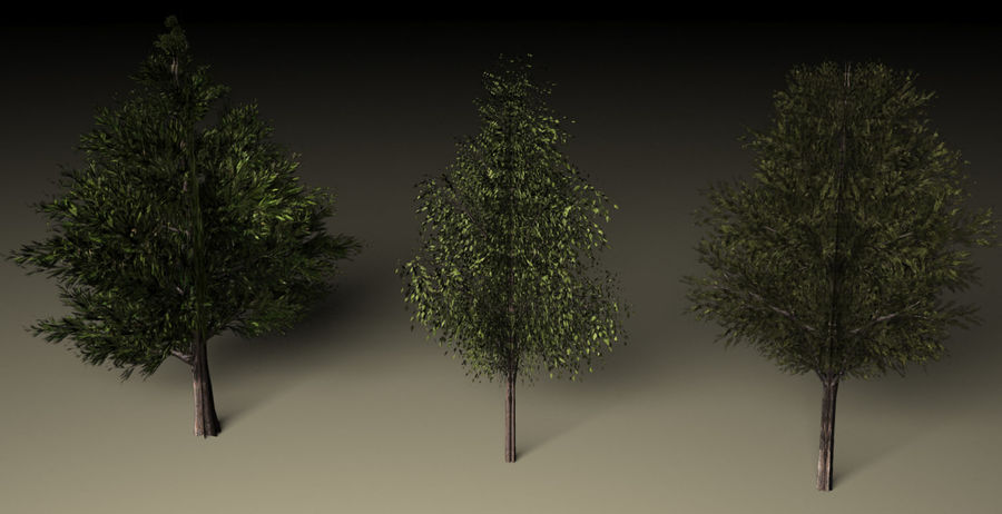 High + low poly trees royalty-free 3d model - Preview no. 1