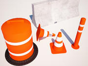Traffic cone and blockers 3d model