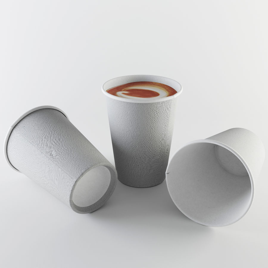 Paper Cup Set royalty-free 3d model - Preview no. 4