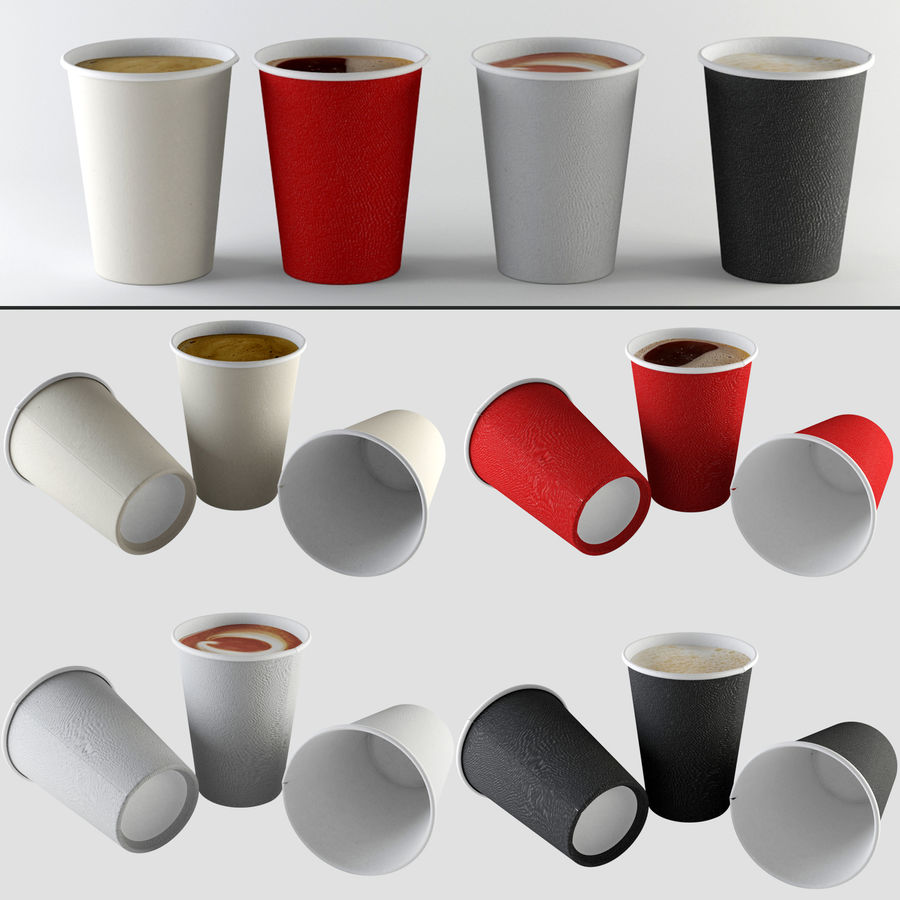 Paper Cup Set royalty-free 3d model - Preview no. 1