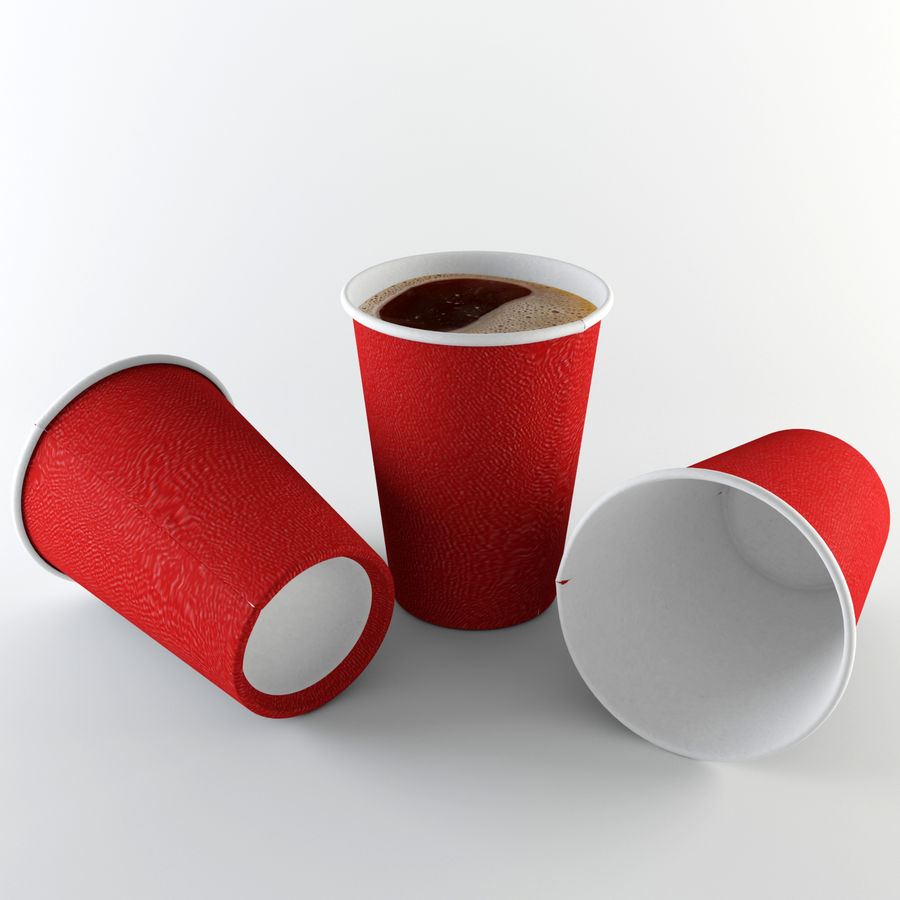 Paper Cup Set royalty-free 3d model - Preview no. 3