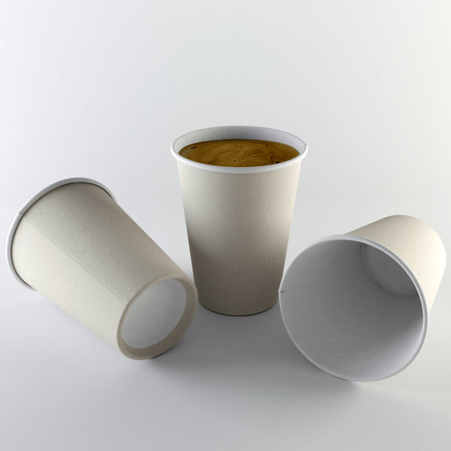 Paper Cup Set royalty-free 3d model - Preview no. 2