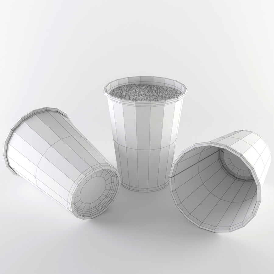 Paper Cup Set royalty-free 3d model - Preview no. 7